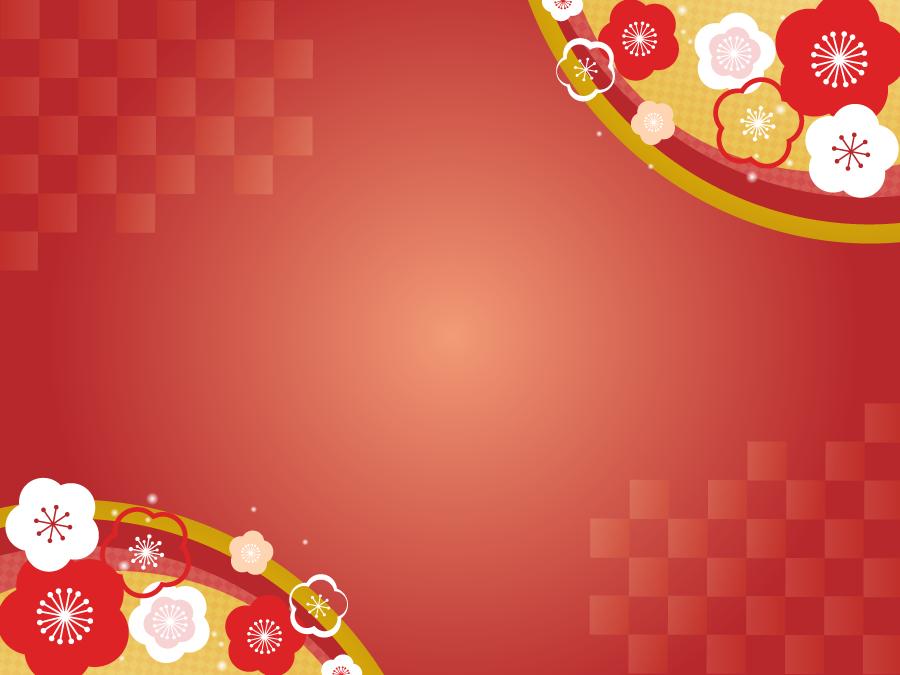 フリーイラスト 梅の花の新春の飾り枠 梅 イラスト 新年 デザイン 正月 デザイン
