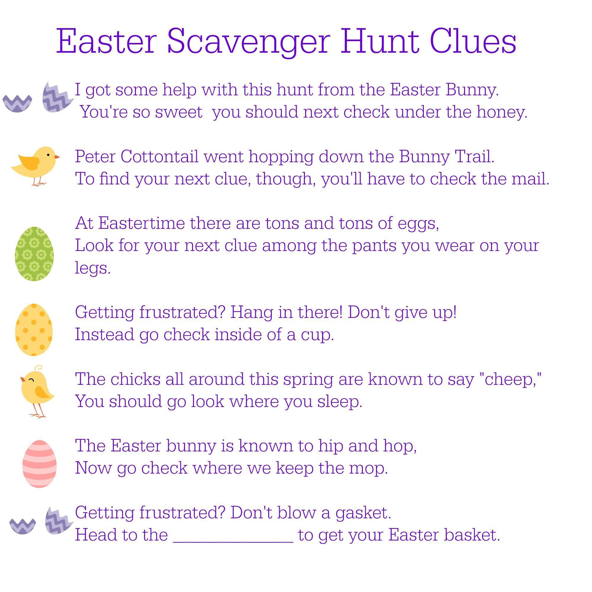 Printable Easter Scavenger Hunt Clues In