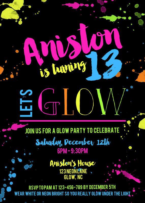 Neon Glow Party Cumpleanos Invitacion Por Paperclutchshop En Etsy