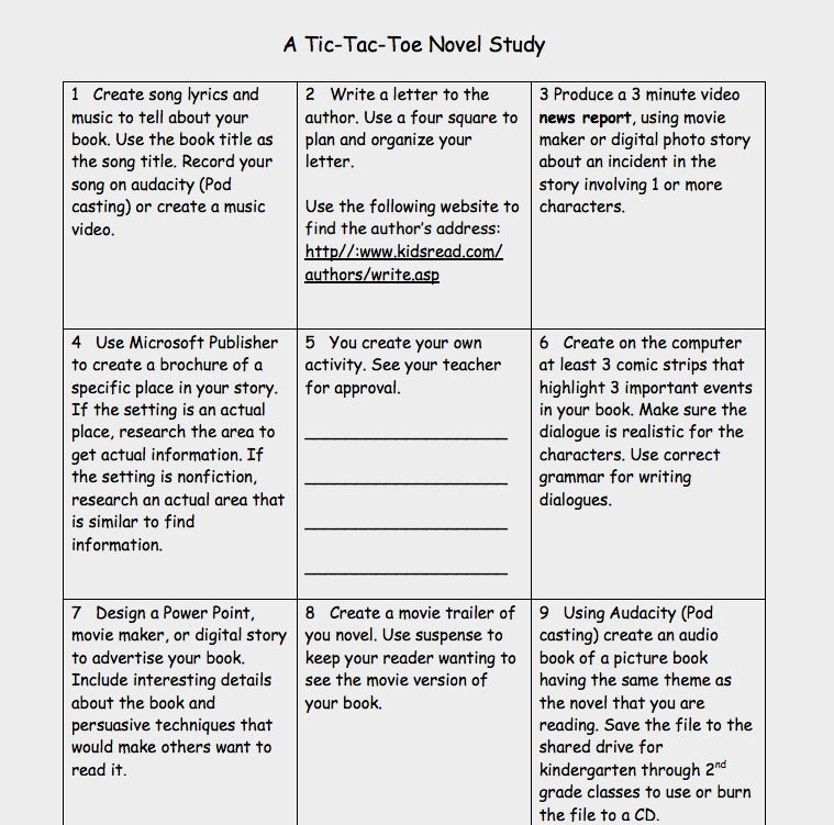 Novel Unit Tic-Tac-Toe Menu | Learning Menus | Pinterest | Tic Tac