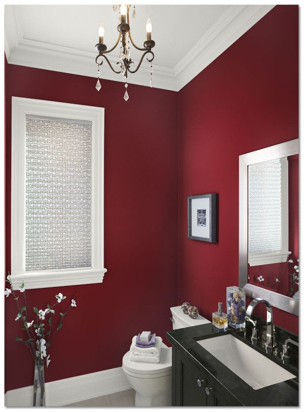 Decoration Astounding Bathroom Colors Behr Paint Using Red Interior Walls With Black Vanity Top Including Rectangular Porcelain Undermount Sink Alongside