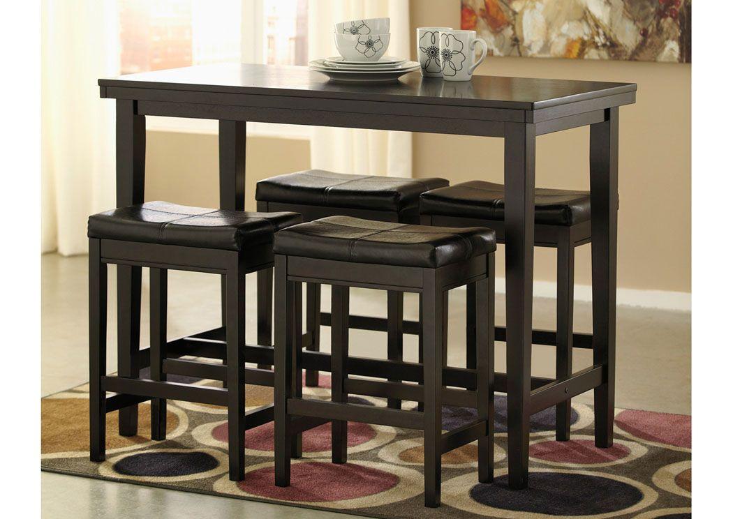 Attrayant Gibson Furniture   Gallatin, Hendersonville, Nashville TN Kimonte  Rectangular Counter Height Table W/ 4 Dark Brown Barstools