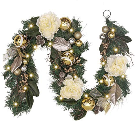 Amazon Com Valery Madelyn Pre Lit 6 Feet 72 Inch Elegant Champagne Gold Christmas Garland For Front Door With Christmas Garland Gold Christmas Champagne Decor