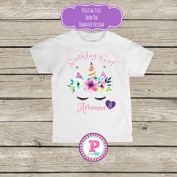 Unicorn Face Birthday Party Personalized Iron On Transfer T Shirt
