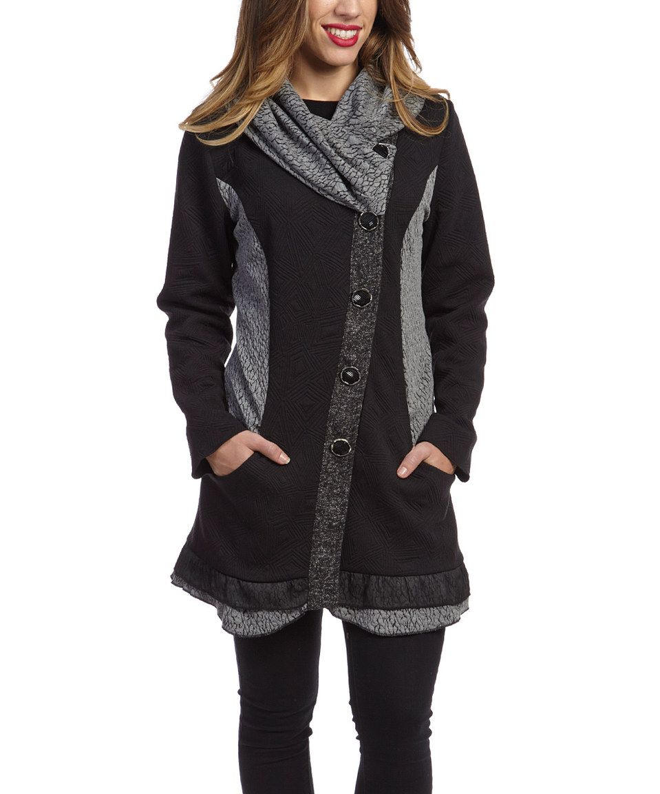 Another great find on #zulily! Nicole Sabbattini Black & Gray Asymmetrical Button-Up Jacket by Nicole Sabbattini #zulilyfinds