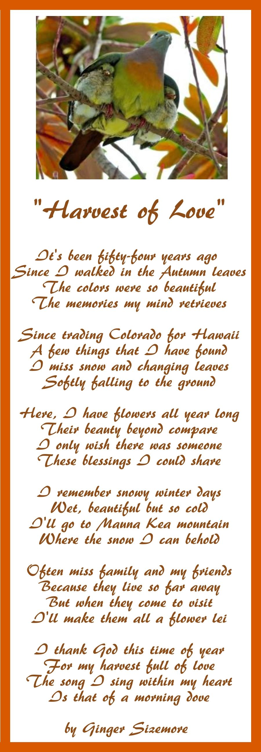 Poem about missing loved ones far away by Ginger Sizemore