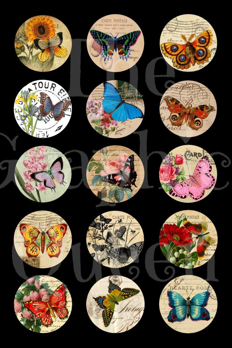 12 Mm 20mm 30 Mm 1 Inch 2 Inches Vintage Butterfly Bottle Etsy In 2020 Bottle Cap Images Digital Collage Sheets Vintage Butterfly