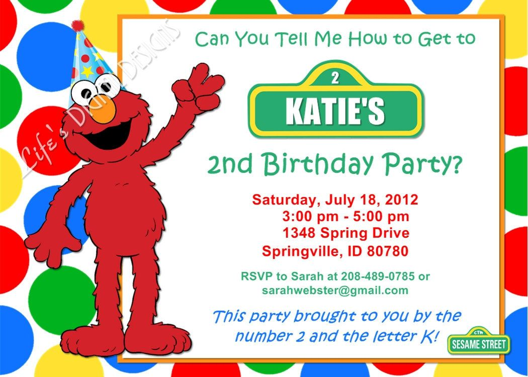 elmo birthday invitation red green yellow blue dots photo option, Birthday invitations