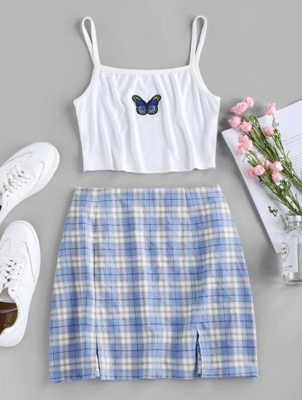 Cute Two Piece Skirt Blue Butterfly Aesthetic Outfits For Summer 2020 Aestheticoutfits Butterfly Em 2020 Roupas Indie Looks Casuais Femininos Looks Vintage Femininos