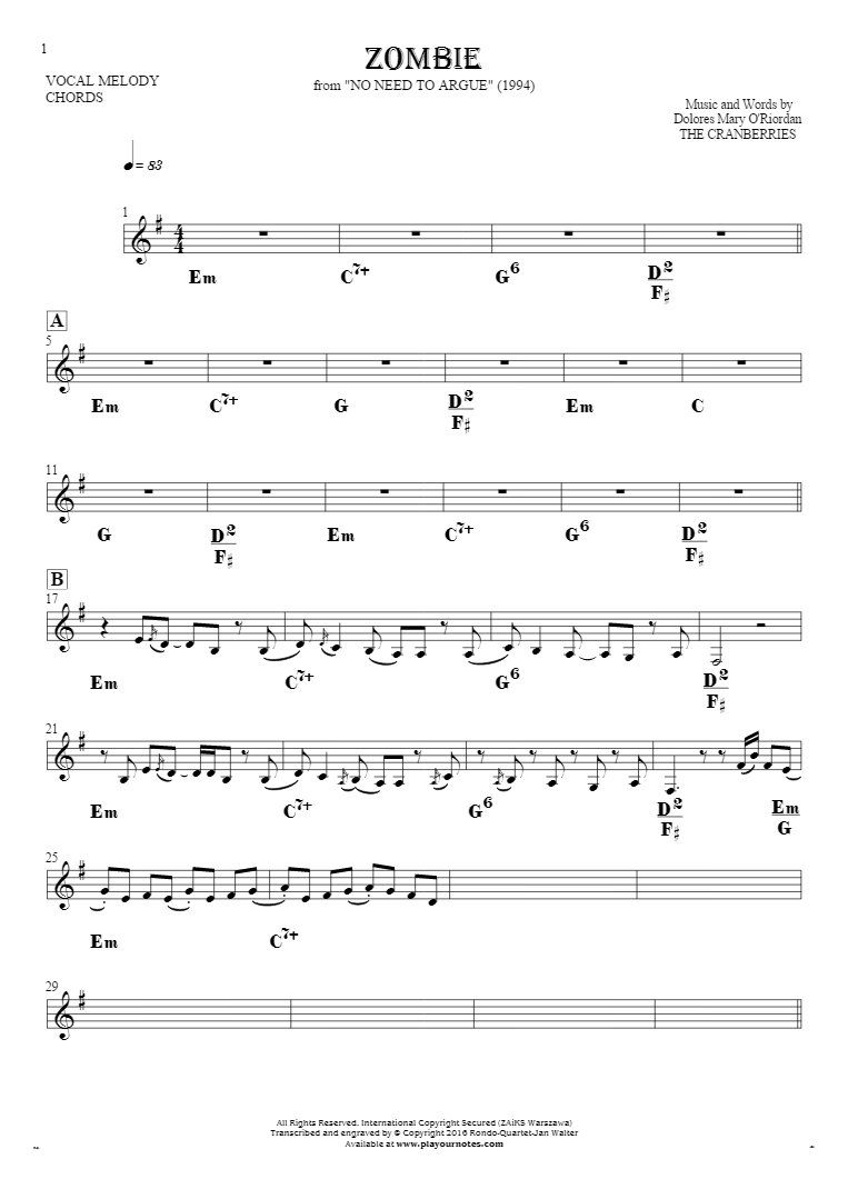 Zombie Notes And Chords For Solo Voice With Accompaniment