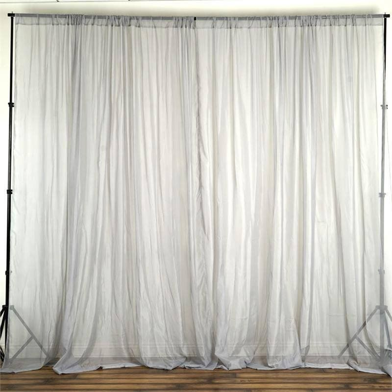 Pack Of 2 5ftx10ft Silver Fire Retardant Sheer Organza Premium Curtain Panel Backdrops With Rod Pockets Panel Curtains Garland Backdrops Curtains