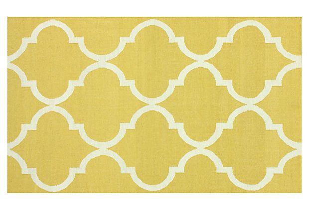 5'x8' Crane Flat-Weave Rug, Yellow on OneKingsLane.com