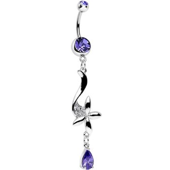 Body Candy 14k Yellow Gold Cubic Zirconia Raindrops Belly Ring