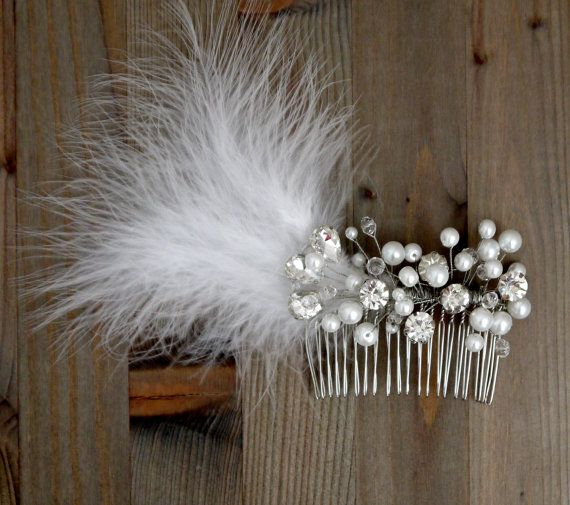 $69.00 USD Feather Wedding Hair Piece Feather Hair by FranceProvence on Etsy