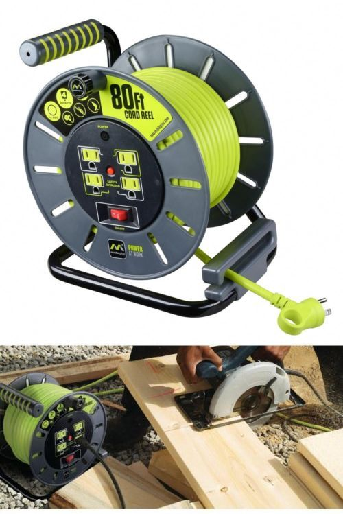 Extension Cords 75577 80 Ft Extension Power Cord Wind Up Roll Reel Job Shop Safety 4 Outlet Plug Wheel Buy Extension Cord Reels Extension Cord Cord Storage