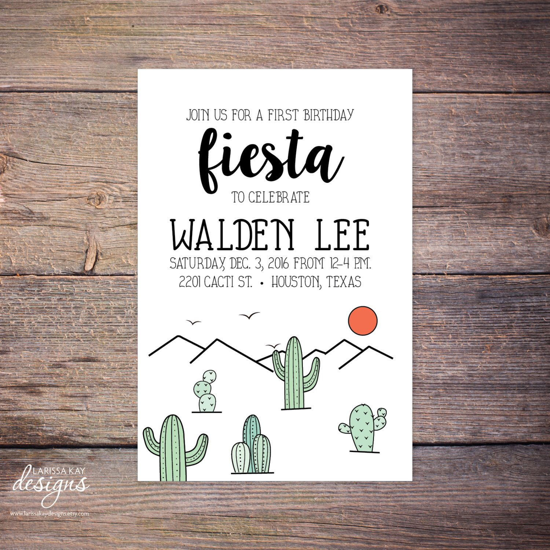 Cacti Birthday Fiesta Invitation, Cactus, Outdoor Lover, Print at ...
