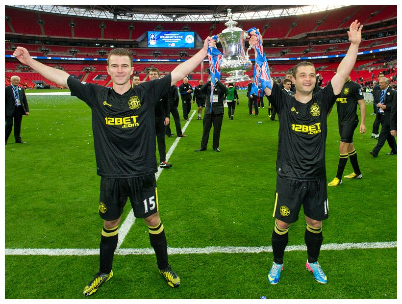 Wigan Athletic S Shaun Maloney And Callum Mcmanaman Celebrate After Defeating Manchester City In Their Fa Cup