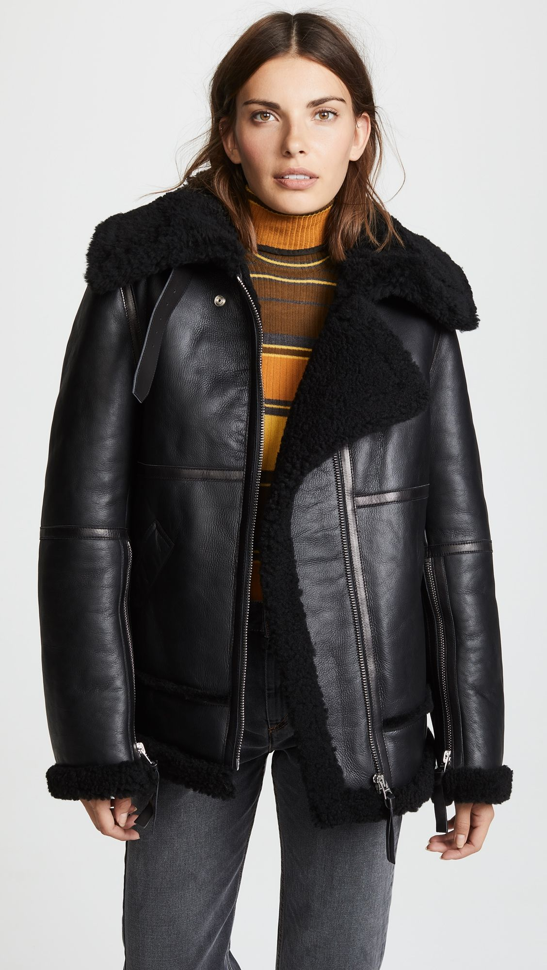 b81da690dd9a1f Shearling Leather Jacket in 2019 | Products | Jackets, Leather ...