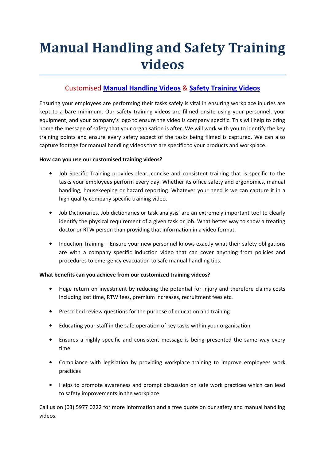 Manual Handling And Safety Training Videos Manual Handling
