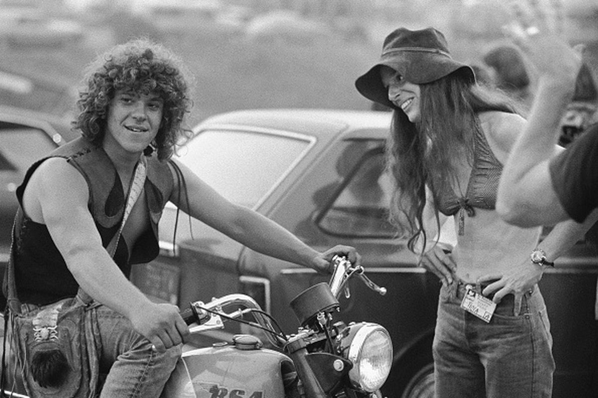 Michael Lang at Woodstock with Motorcycle