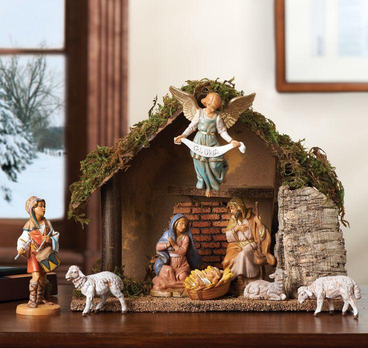 Roman WINTER WHISPER Shepherd /& Sheep Figurine Set