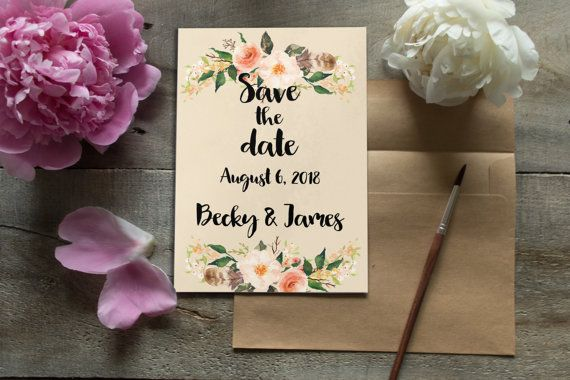 Floral save the date card, Printable save the date, Boho save the date card, Personalized cards, Rustic save the date, Bohemian card BD-6012