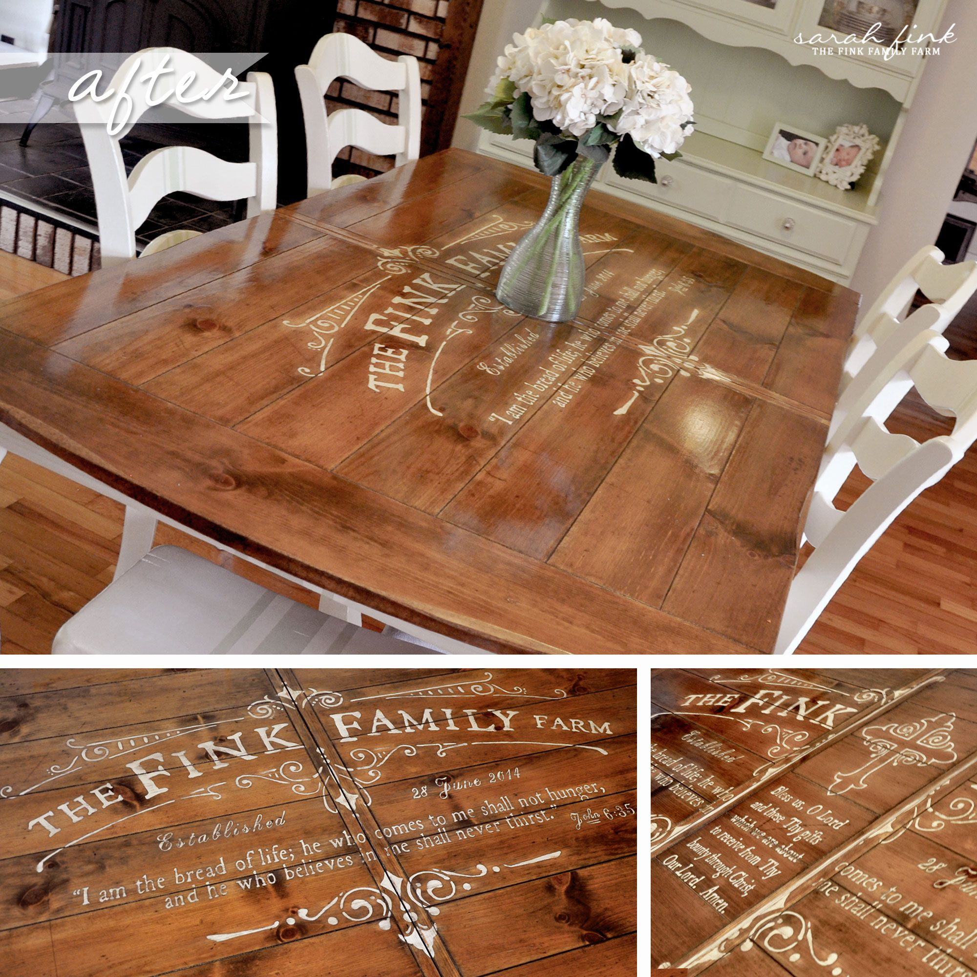 Gathering For Dinner Around A Custom Stenciled Dining Room Table Dining Room Table Diy Kitchen Table Dinning Room Tables