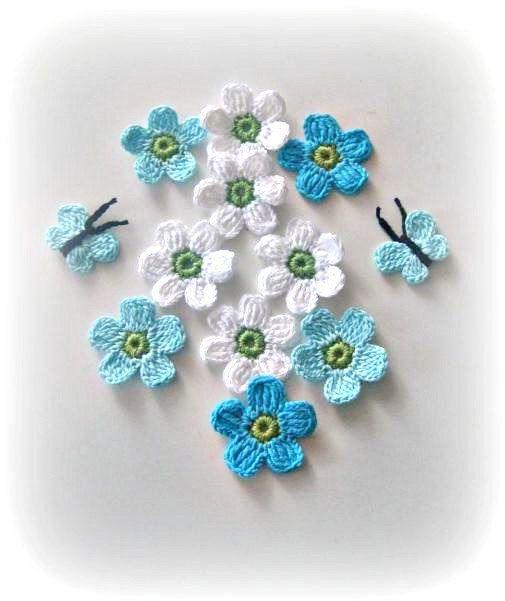 Fairytale Crochet Flowers and Butterflies -12 pcs in set via Etsy.