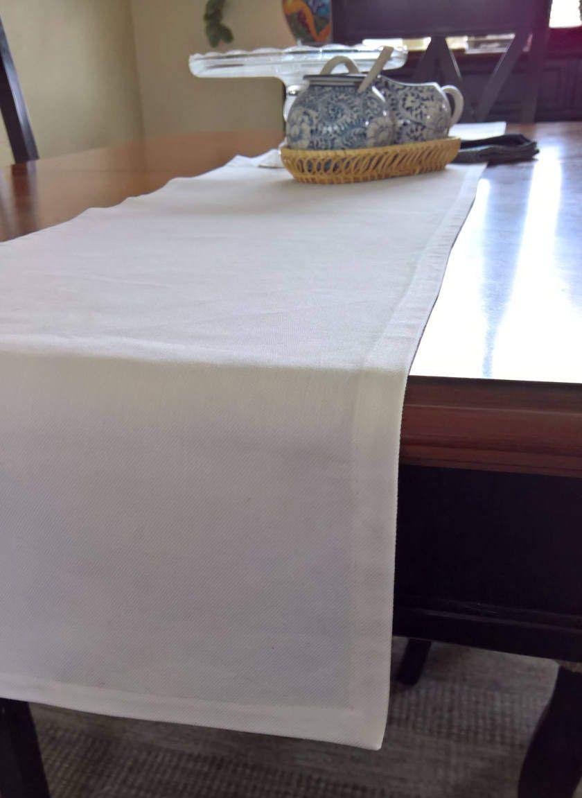 White Table Runner White Denim Table Runner White Table Etsy
