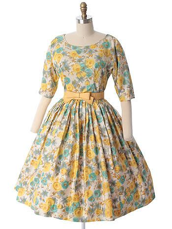 1960's Watercolor Floral Garden Party Dress | Gardens, 60sfashion ...