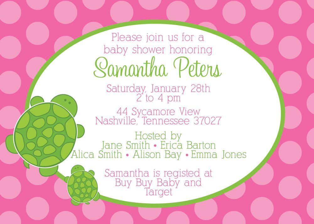 Pink Turtle Baby Shower Invitation | Turtle baby, Shower invitations ...