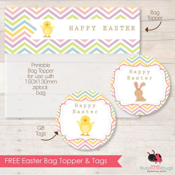 photograph regarding Free Printable Bag Toppers named Easter bag toppers and tags, absolutely free printable Easter