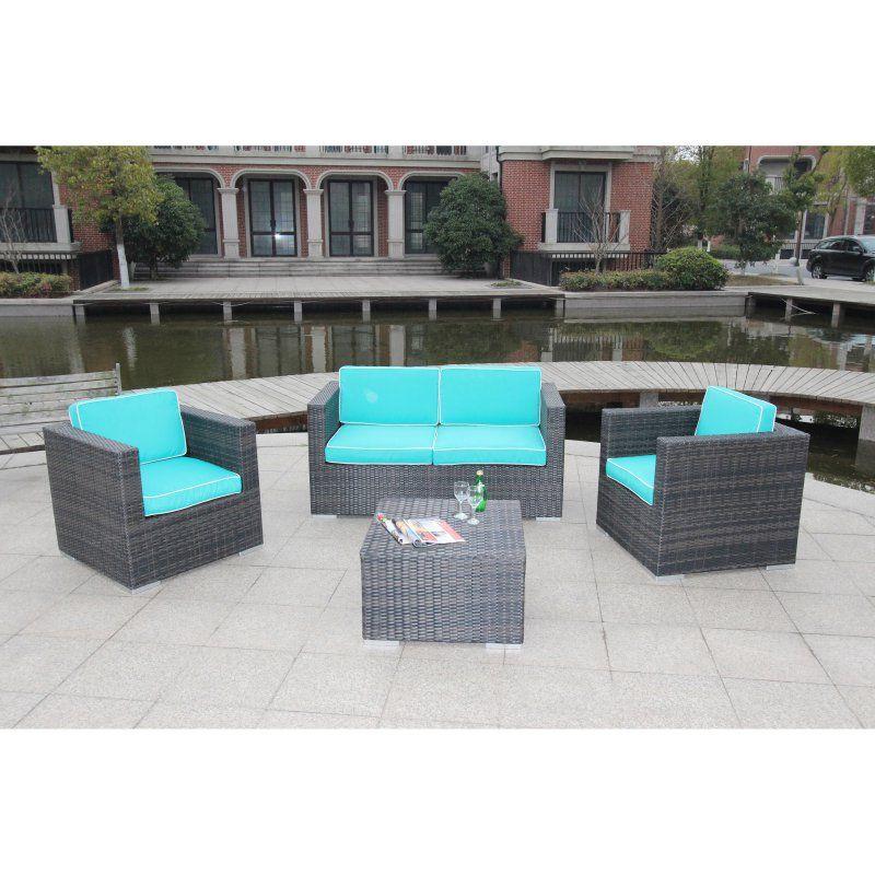 Outdoor Bellini Home and Gardens Cavinas Wicker 4 Piece Patio Deep Seating Sofa Conversation Set - W87104A151