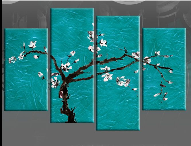 Teal Canvas Wall Art large teal turquoise floral blossom painting wall art split canvas