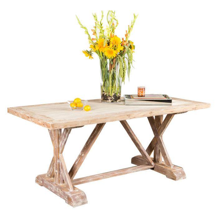 Lilian Farmhouse Trestle Console Extendable Dining Table