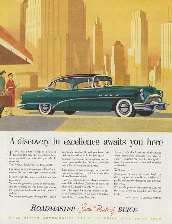 1954 Buick Roadmaster Car Ad Retro Automobile & City Skyline ...
