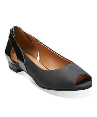 Clarks Black Coralie May Leather Flat