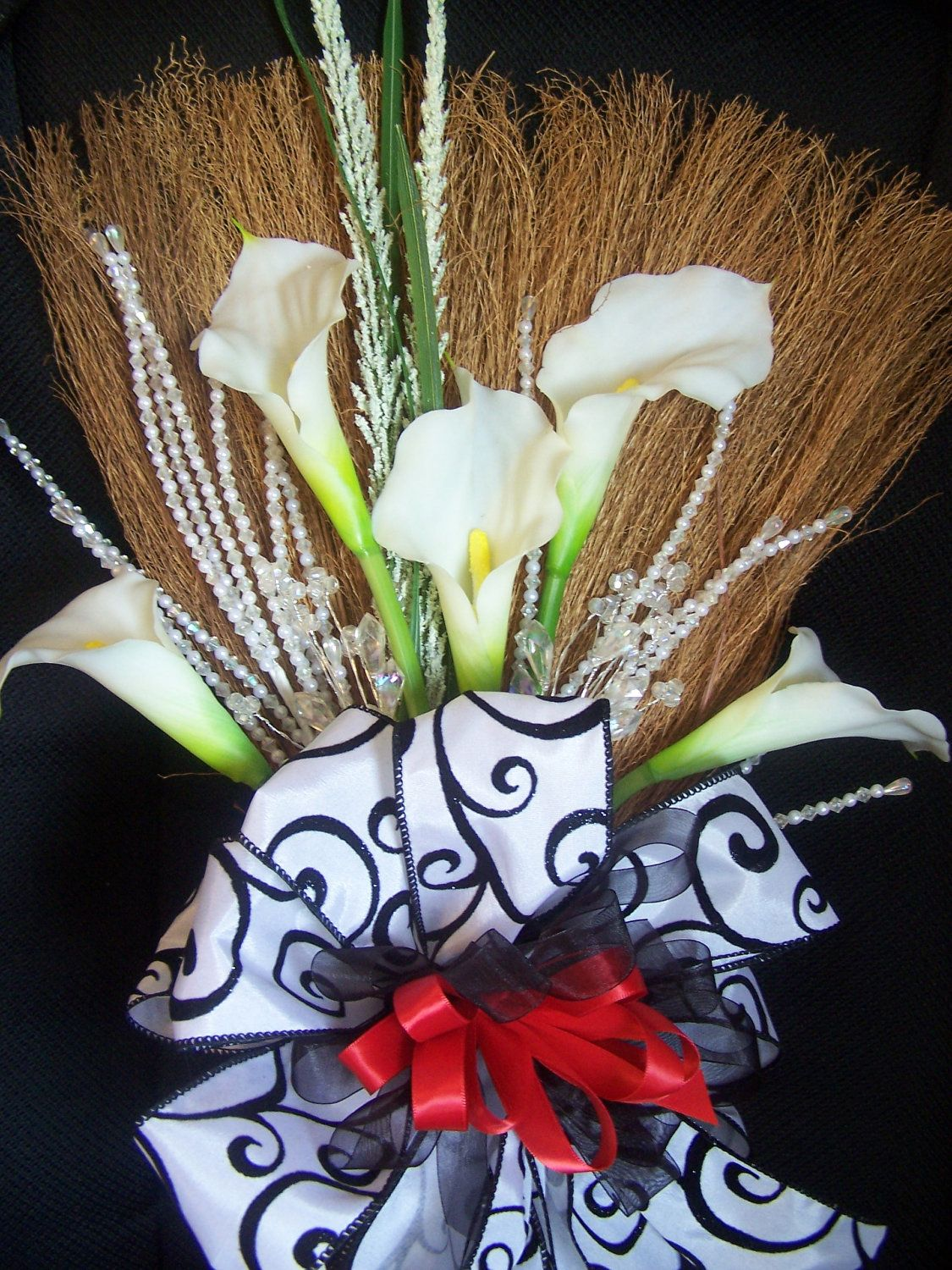 Black White Wedding Broom With Red Accents And White Calla Lillies