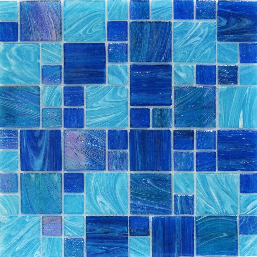 Aquatic Ocean Blue French Pattern Glass Tile | Dream bathrooms ...