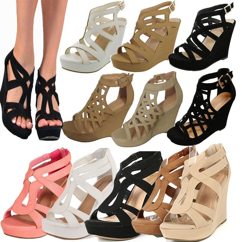 NEW WOMENS GLADIATOR CUTOUT GIRLS SANDALS PLATFORM CHUNKY BLOCK HEEL LADIES SIZE
