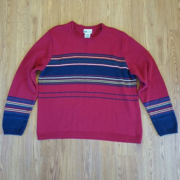 Faded Glory - Missy XL red long sleeved sweater Faded Glory - Missy XL red long sleeved sweater with stripes Faded Glory Sweaters Crew & Scoop Necks