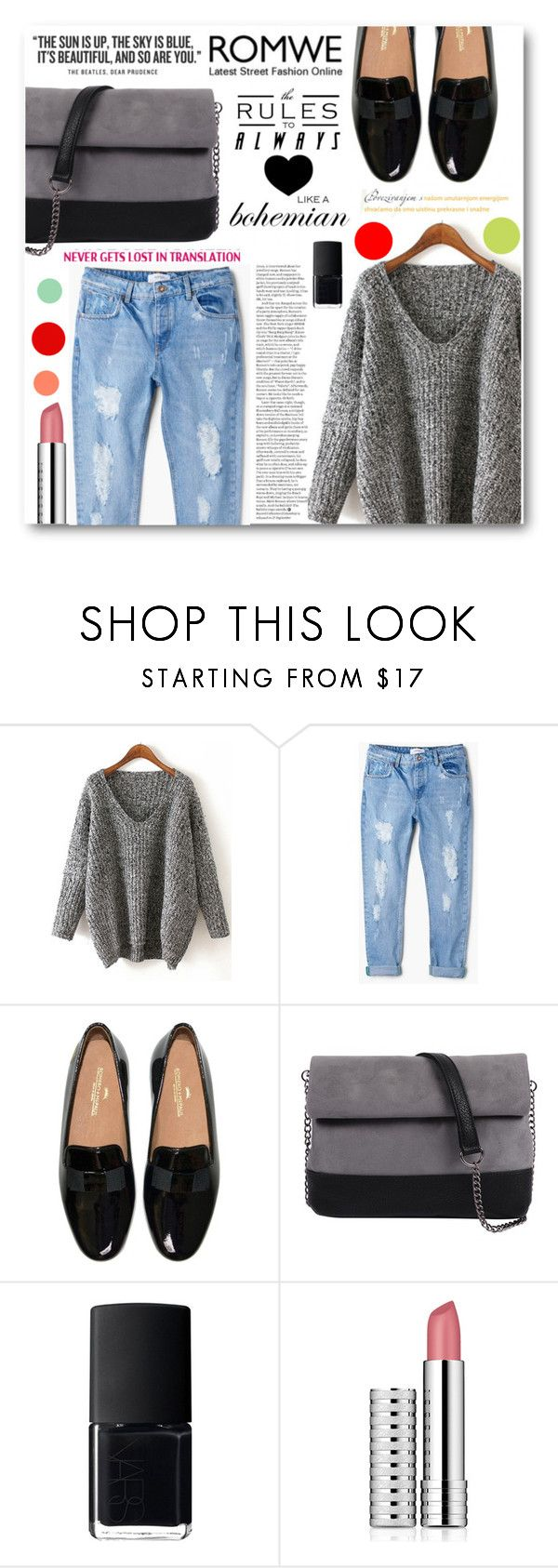 """""""It's Beautiful And So Are You"""" by tasnime-ben ❤ liked on Polyvore featuring MANGO, 7 Chi, NARS Cosmetics, Clinique and romwe"""