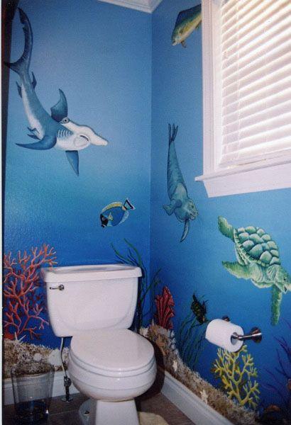 underwater  Beach Bathroom in 2019  Ocean bathroom Ocean mural Shark bathroom