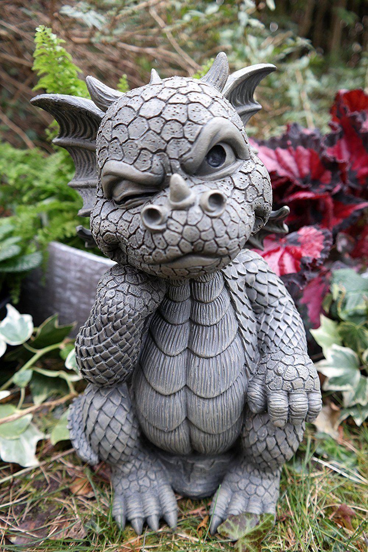 The Thinker Whimsical Garden Dragon Statue 10 H Cute Baby Dragon Winking Eye 654329294741 Ebay Dragon Dragonart Dra Dragon Decor Dragon Garden Baby Dragon