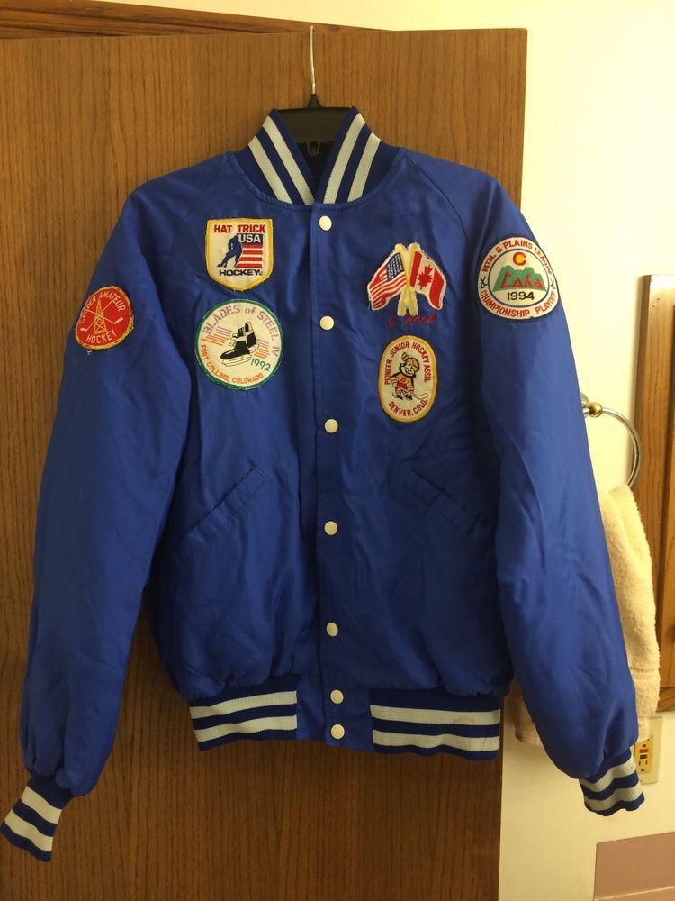 Vintage Bomber Jacket Made In Usa Hockey Patches Blue Striped Ribbing Size M Fashion Clothing Shoes Accessories Bomber Jacket Vintage Jackets Coats Jackets