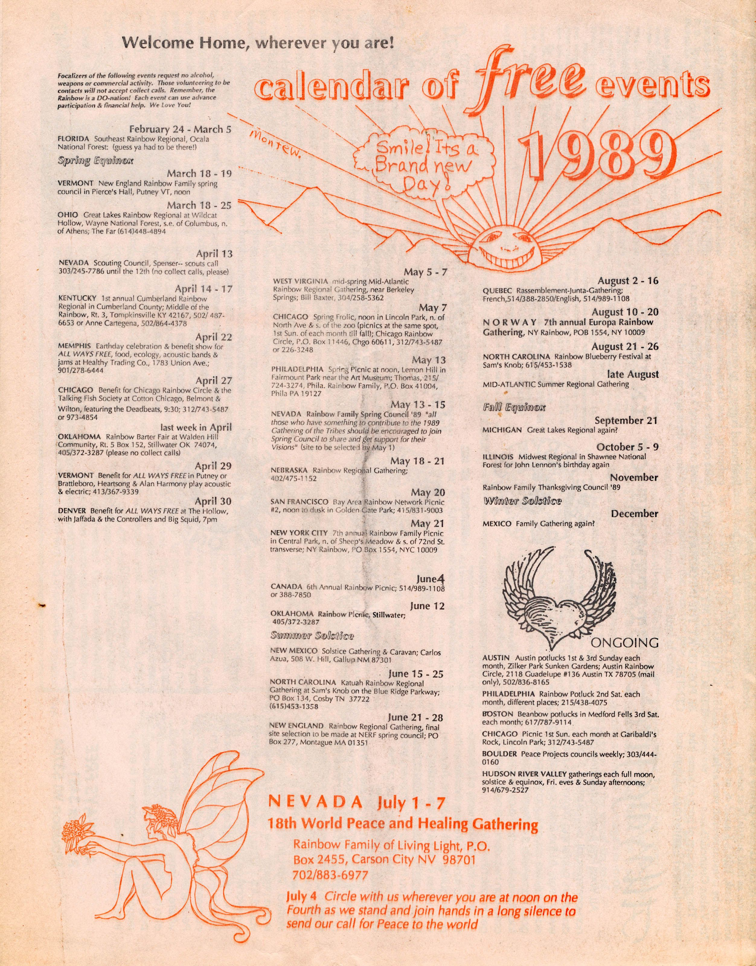 1989 Calendar Of Free Events From The Winter Issue Of All Ways