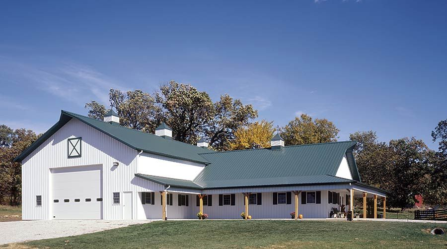 T Shaped Pole Building With Banquet Hall Channahon Illinois Fbi Buildings Pole Barn House Plans Pole Barn Homes Barn House