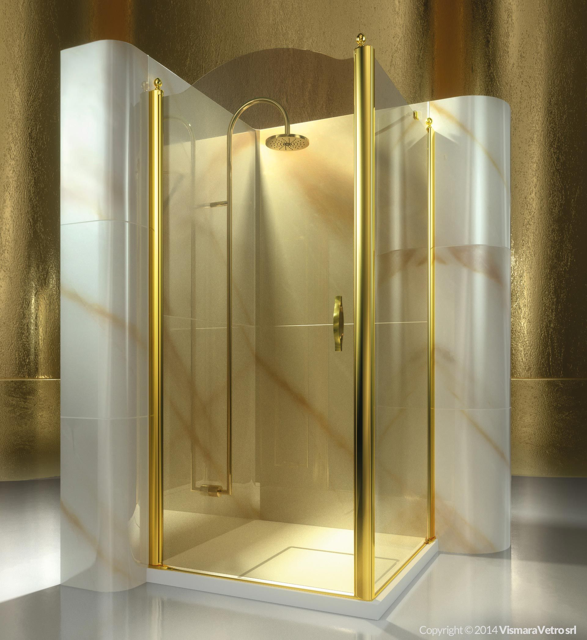 Shower enclosure for corner shower trays made by a pivot door and ...