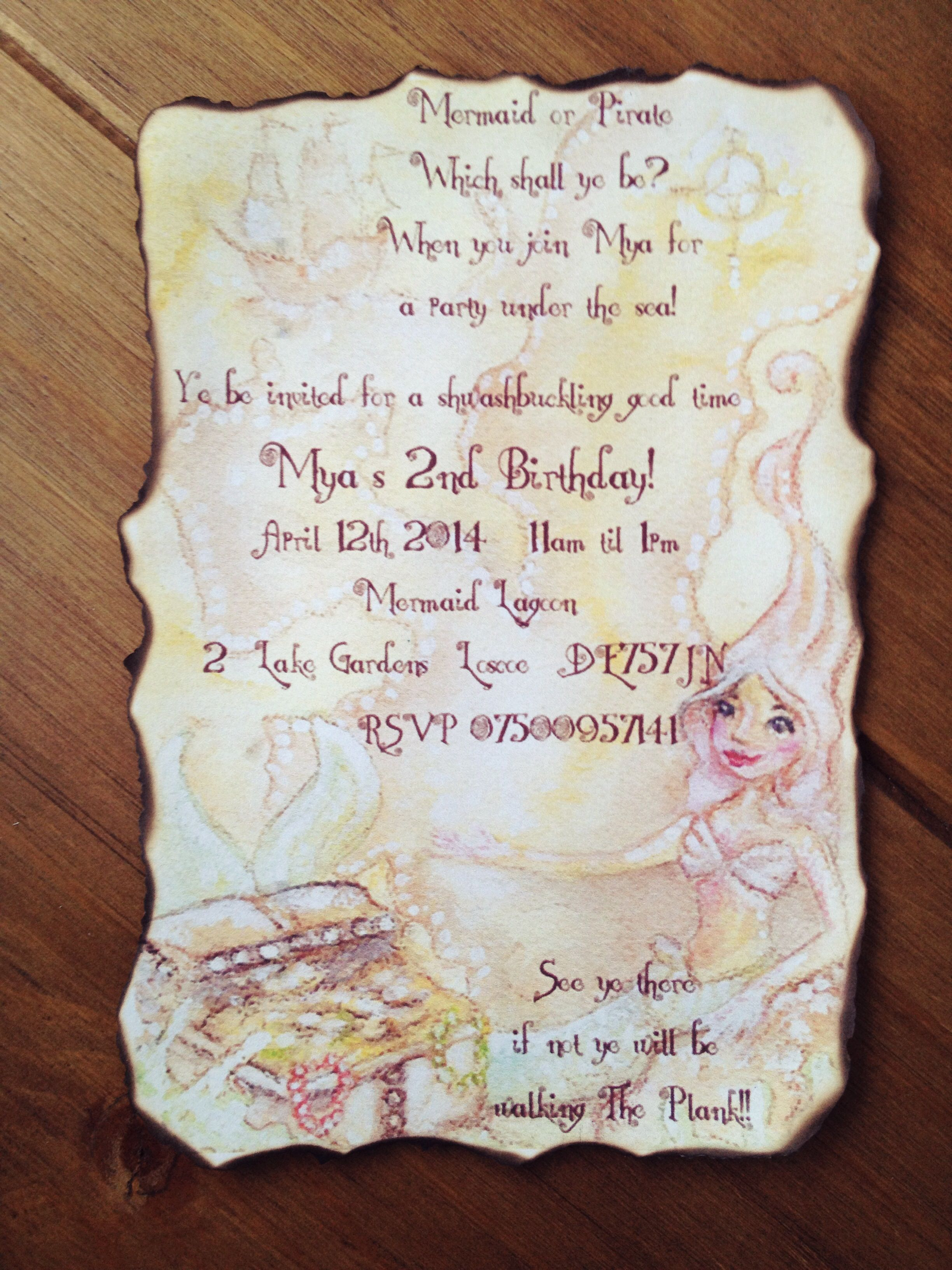 DIY mermaid & pirate party invites for Mya\'s 2nd birthday. | party ...