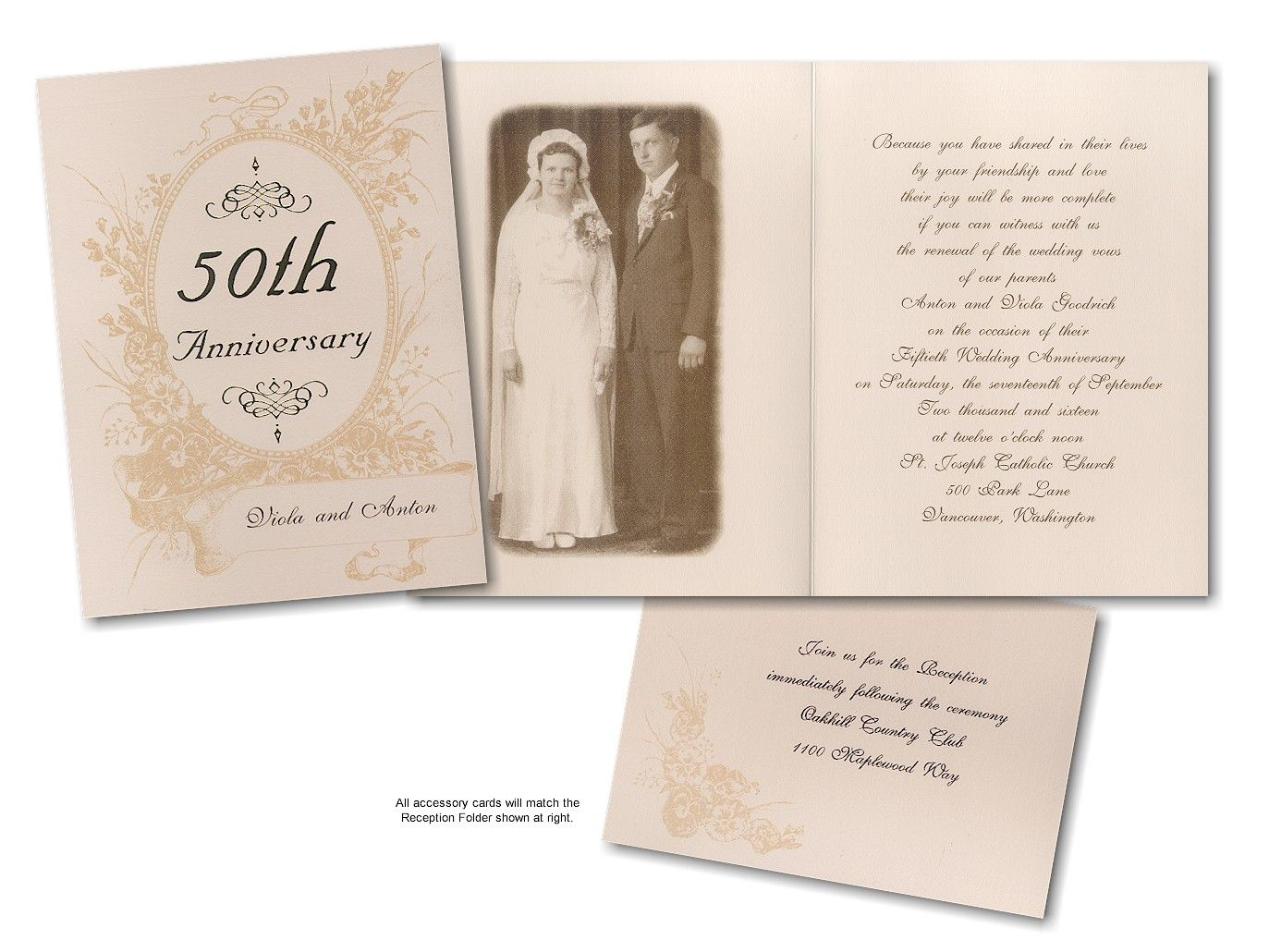 Cheap 50th Wedding Anniversary Invitations: Reflections 50th Anniversary Invitation